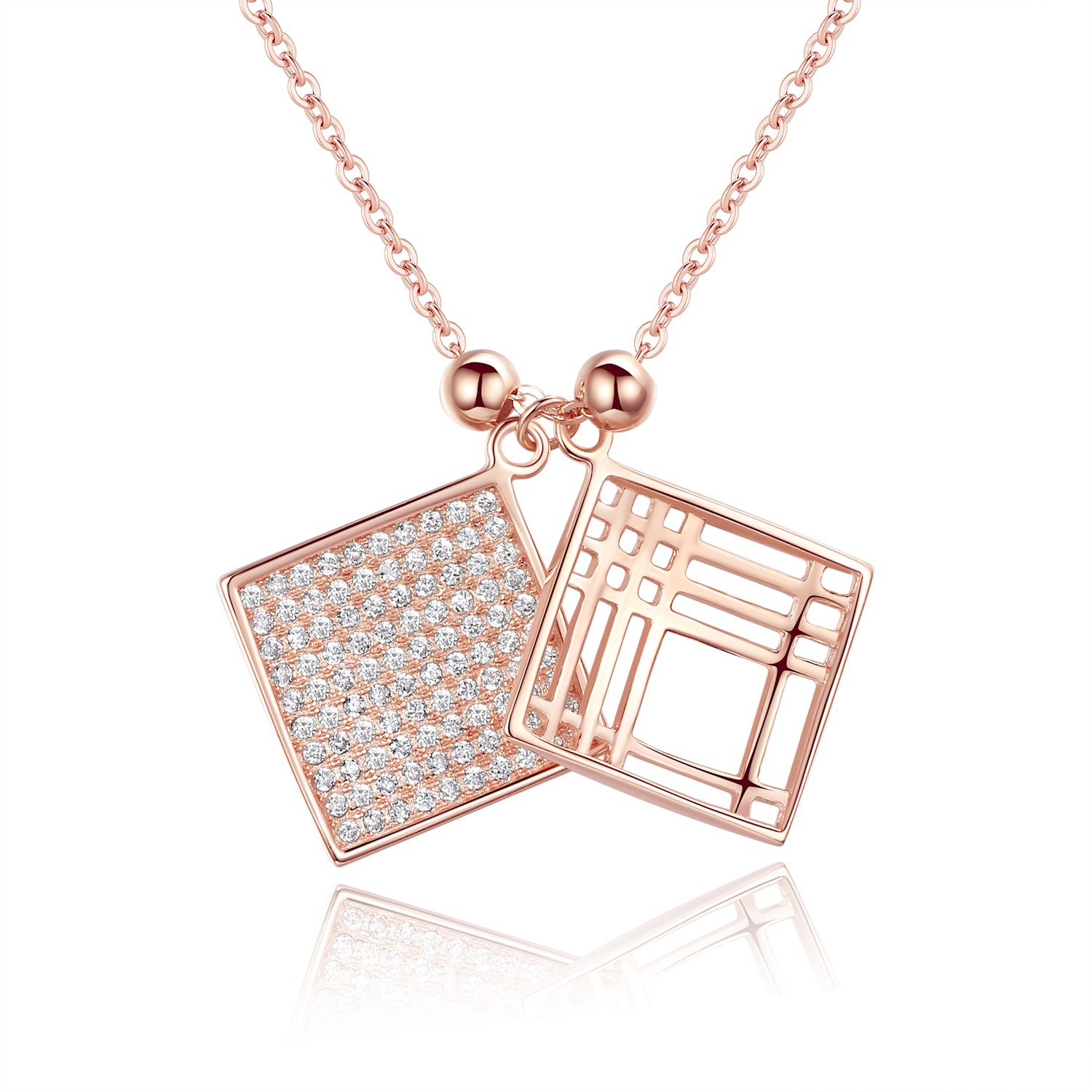 Sterling silver rose gold plated diamante pair hollow squares sterling silver rose gold plated diamante pair hollow squares pendant necklace jewelry for women aloadofball Images