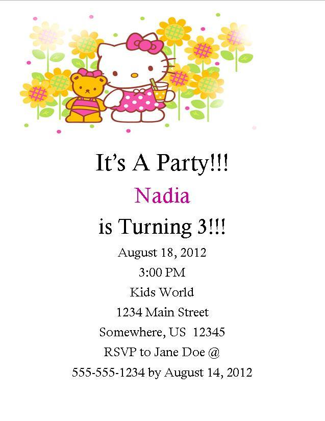 Hello Kitty Birthday Invitation 1