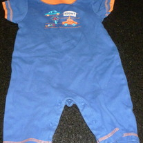 Blue/Orange Short Sleeve Romper with Cars-Gerber Size 3-6 Months