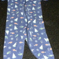 Navy Long Sleeve Romper with Fish/Sailboats-Gymboree Size 3-6 Months