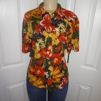 Vintage Tan/Orange/Green Blouse Size 12!