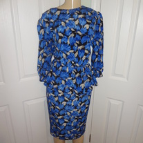 Vintage Peplum Blue Dress Size 10