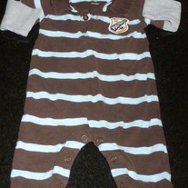 Brown/Blue Stripe Long Sleeve Romper with Collar/Buttons-Says Football Champs on Front-Carters Size 3 Months