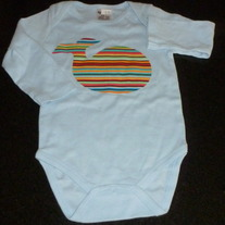 Blue Onesie with Multi Color Stripe Whale-NEW-Boutique Size 12 Month