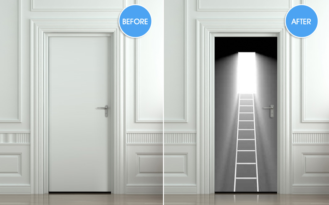 Wall Door STICKER stair stairs flight of light decole poster 30x79\ (77x200cm) / : stair door - pezcame.com