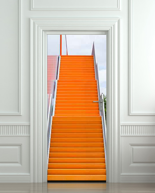 Wall door sticker stair orange raise raising 30x79 for Door mural stickers