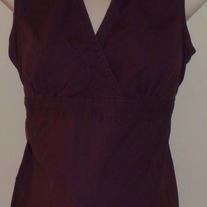 Dark Purple Sleeveless Top with Collar-Motherhood Maternity Size Large