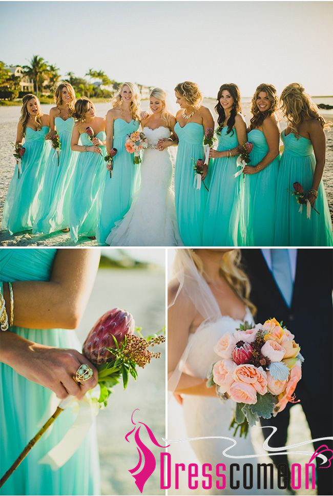 Romantic beach bridesmaid dresses sweetheart blue chiffon for Blue beach wedding dresses