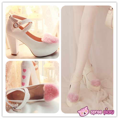 Lolita Hearts Embroidered White Heels with Sweet Pink Fur Platform ...