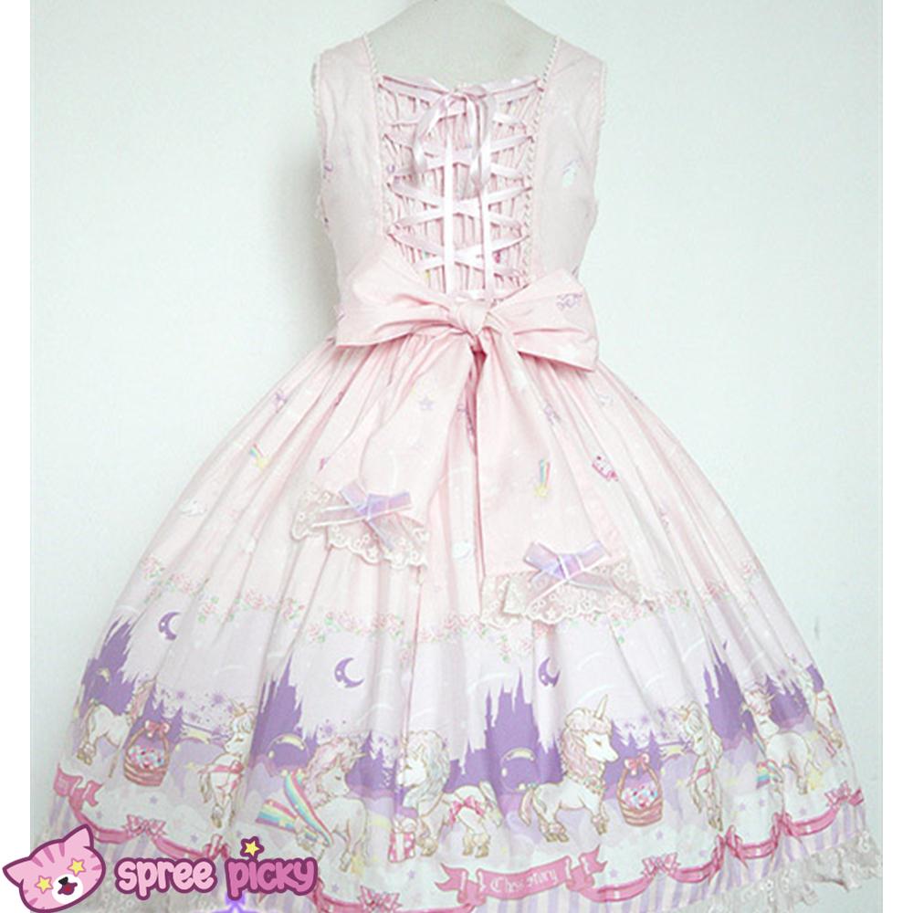 Blue apron unicorn -  Lolita Chess Story The Unicorn Castle Pink Blue Jsk Jumper Skirt Dress Sp140432