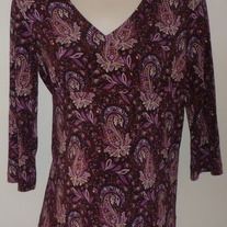 Dark Purple Floral Top-Liz Lange Maternity Size Small