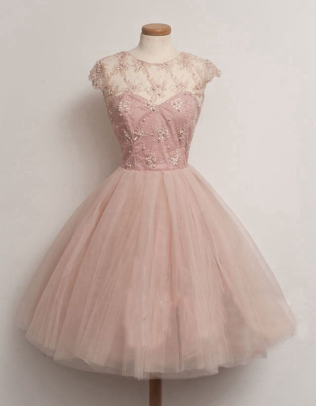 short prom dress, pink prom dress, A-line prom dress, cute prom ...