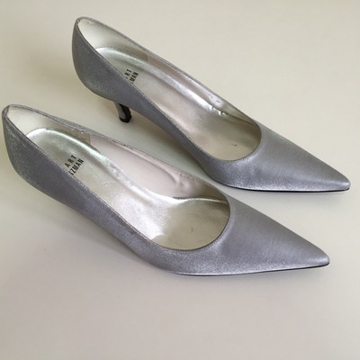 ... Stuart weitzman silver metallic pointed-toe pumps (7.5) 5ffb01f6ee7dc