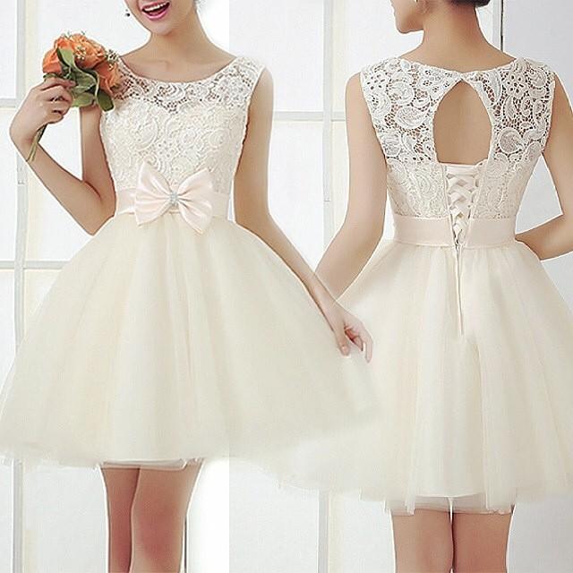 Lace Prom Dress, Short prom dress, White prom dress, online prom ...