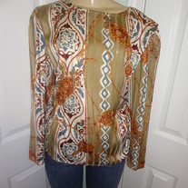 Vintage Tan/ Stripe Blouse Size 14!!