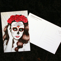 "Sugar Skull - 4x6"" Postcard - Day of the Dead lowbrow art"