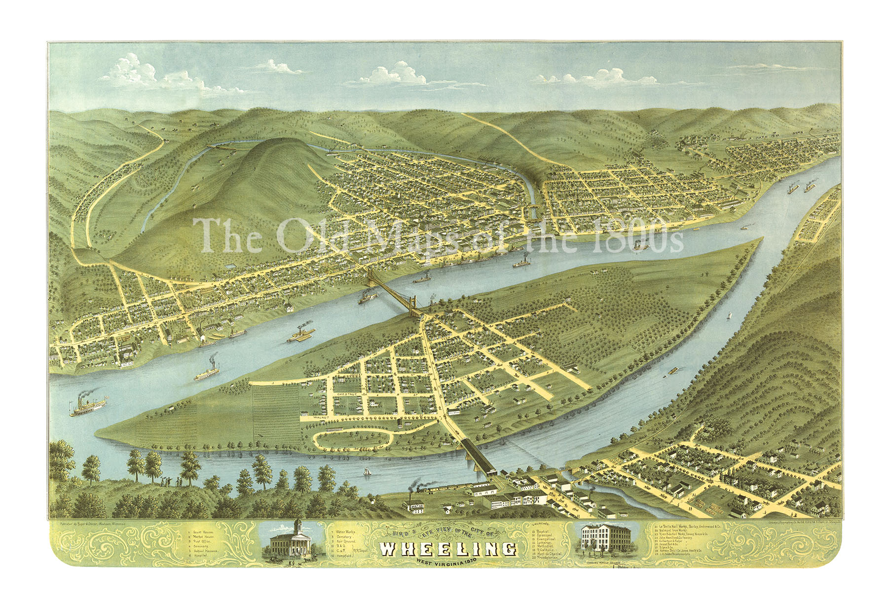 Wheeling West Virginia in 1870 Birds Eye View Map Aerial