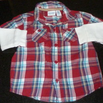 Red Plaid Long Sleeve Shirt with White Sleeves-Sonoma Size 24 Months