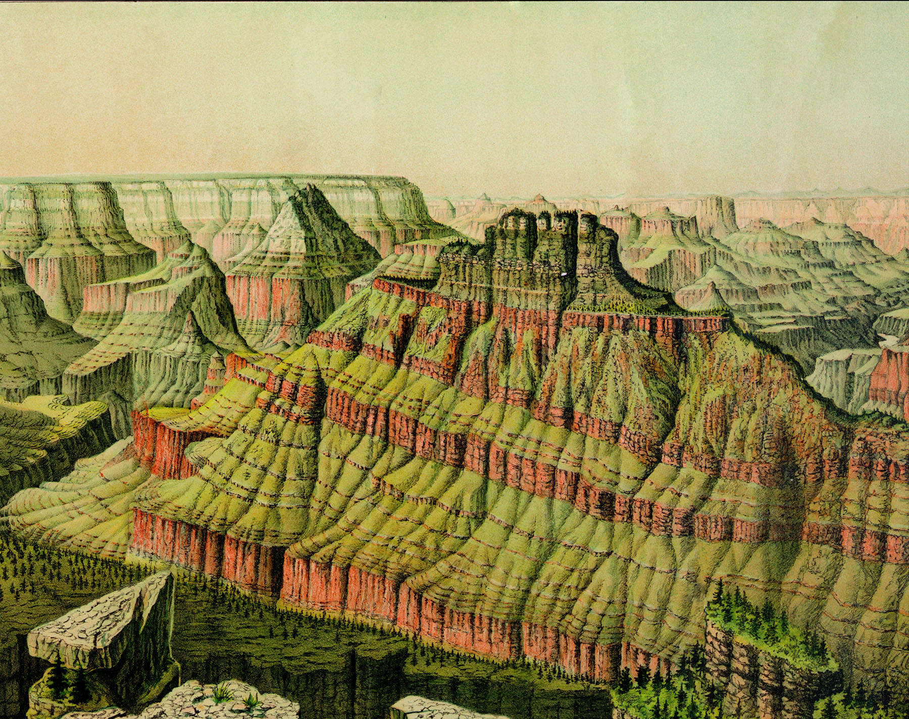 The Grand Canyon of the Colorado River, Arizona in 1873 - Bird\'s Eye ...