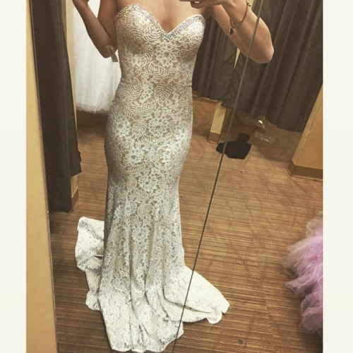 White lace prom dresses, Mermaid prom dress, chiffon prom dress ...