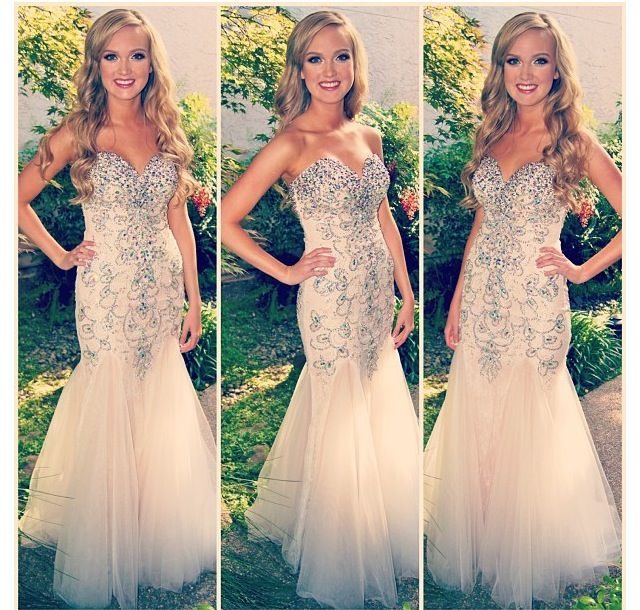 champagne prom dress, long prom dress, mermaid prom dress, new prom ...