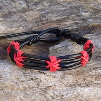 Black Leather and Red Hemp Knot Bracelet