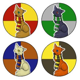 Harry Potter House Scarf Foxes Buttons Set Of 4