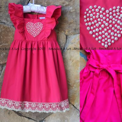 """you are my 'i love you!'"" hot pink valentine's day pearl heart dress with lace"