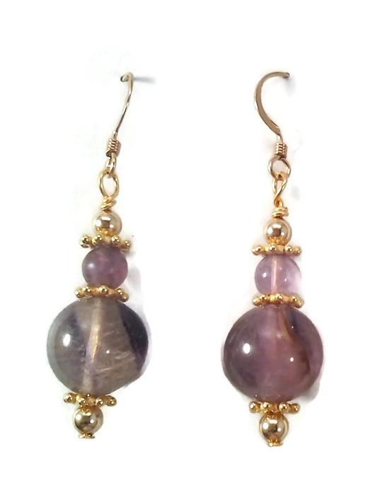 purple fluorite with gold spacer earrings 183 antika nueva