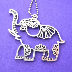 Elephant Animal Pendant Charm Necklace in Silver with Floral Details