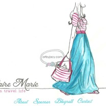 """Claire Marie"" Illustrated Custom Premade Blog Banner with Navigation Links"