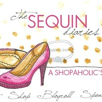 """Sequin Diaries"" Illustrated Premade Blog Banner with Navigation Links"