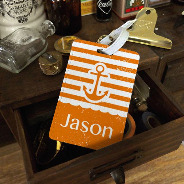 Anchor Stripes Personalised PU Leather Luggage Tag, Travel Tag ...