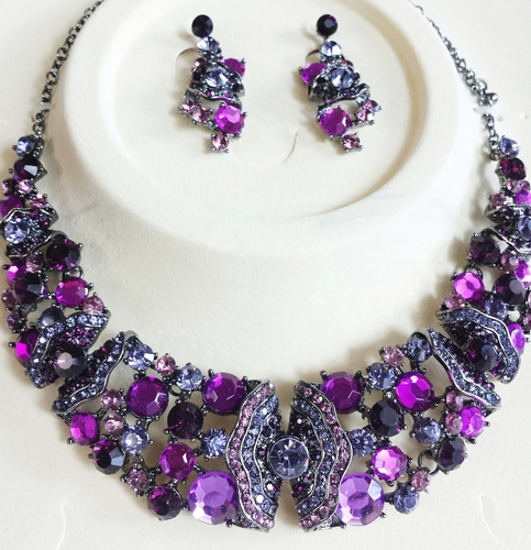 Purple Crystal Necklace Amp Earrings 183 Two Angel Designs