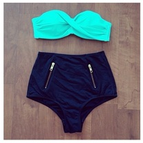Zipper High Waisted Bikini Bottom