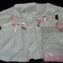 White Shirt with Pink Bows and Matching Hat-NEW-Calabash Size 6 Months