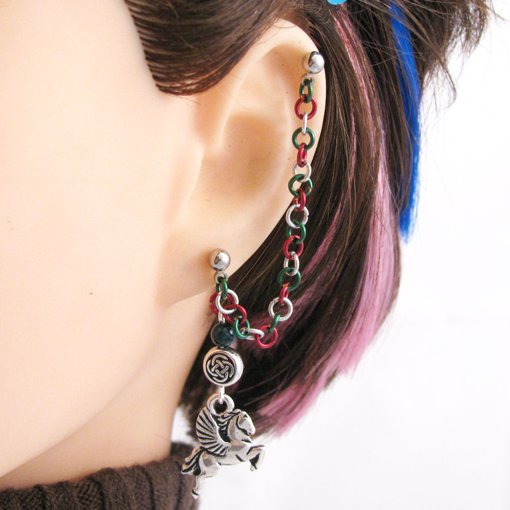 pegasus earring rohan lotr jewelry cartilage chain ear cuff or