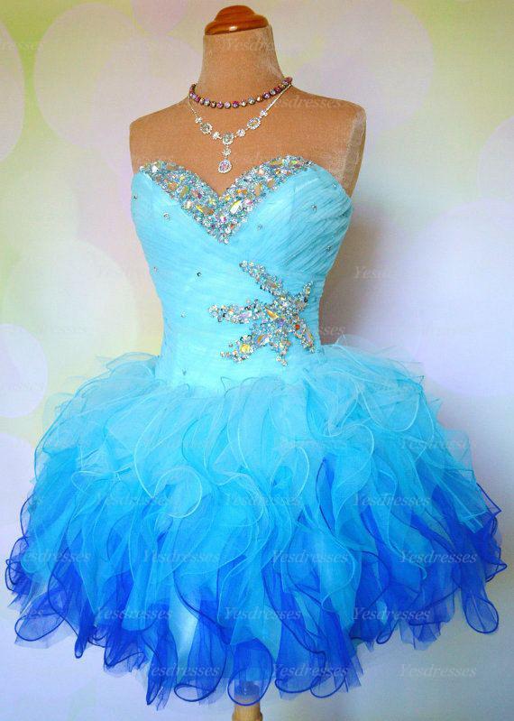 Blue Short Evening Dresses
