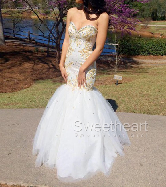 Sweetheart Girl White Tulle Gold Beaded Mermaid Prom Dresses