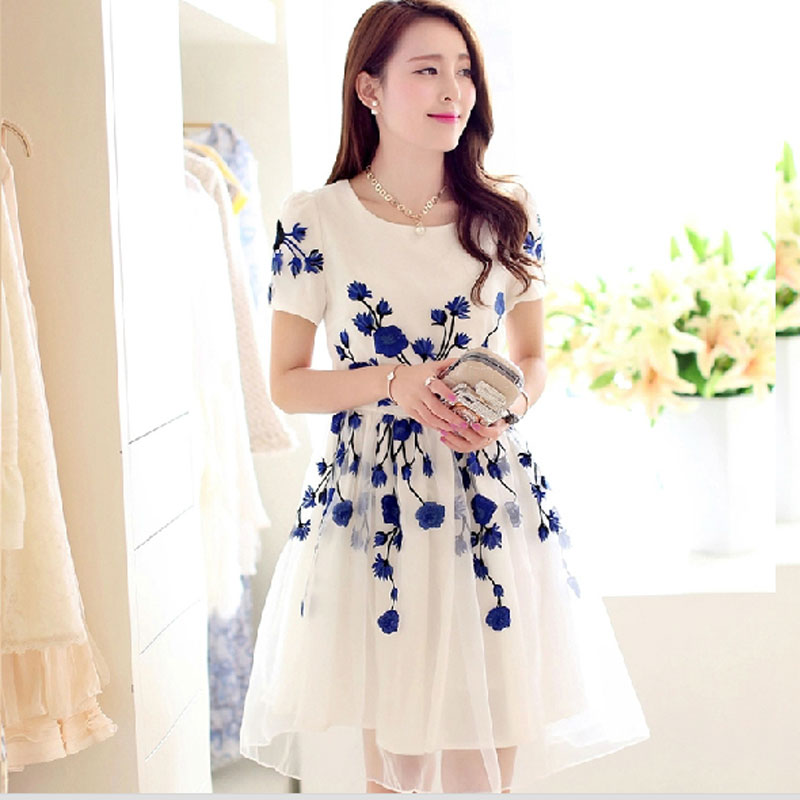 Embroidery Back Zipper Mid Waist Knee-Length Dress Women Summer ...