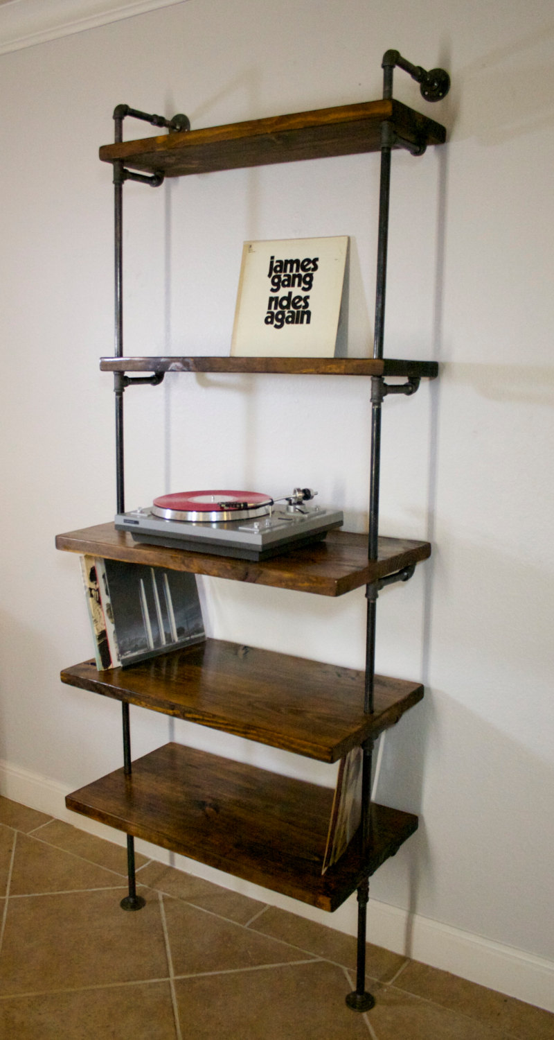 Industrial Record Shelving Unit Bookcase Modern Record