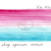 """it's me jess"" Blue Pink Ombre Watercolor Premade Blog Banner with Navigation Links"