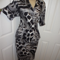 Vintage Black and White Zebra Peplum Dress Size L or XL!