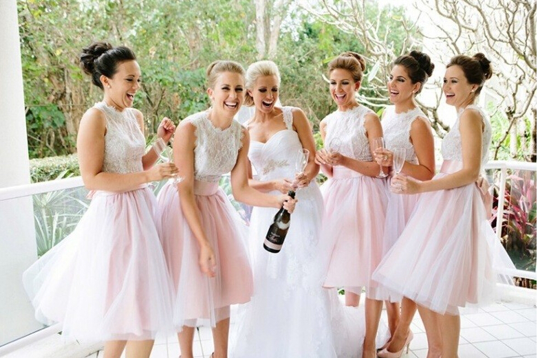Organza Bridesmaid Dresses,Classic White Bridesmaid Dress,lace Bridesmaid  Dress,A Line Bridesmaid