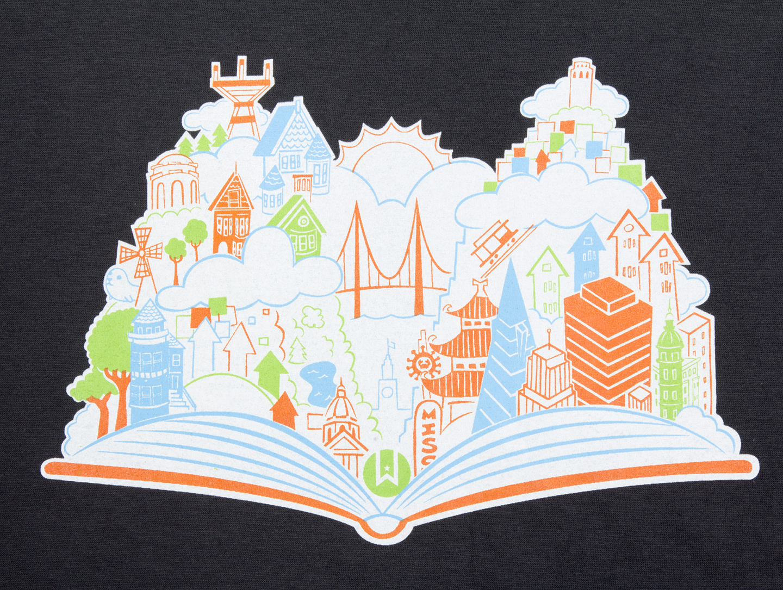 Shirt design book - T Shirt San Francisco Open Book Design Thumbnail 1