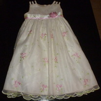 Creme Dress with Pink Rose-Cinderella Size 2/2T