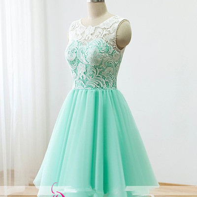 Coral lace bridesmaid dresses cheap garden country pleated for Short green wedding dresses