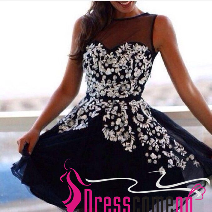 Black short prom dresses princess hot top homecoming dress white black short prom dresses princess hot top homecoming dress white lace flower appliqued dress for girls mightylinksfo