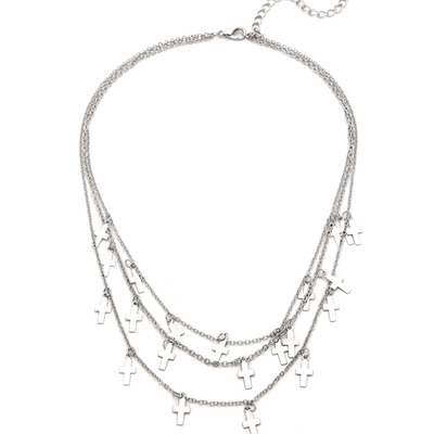 Petite crosses necklace - silver