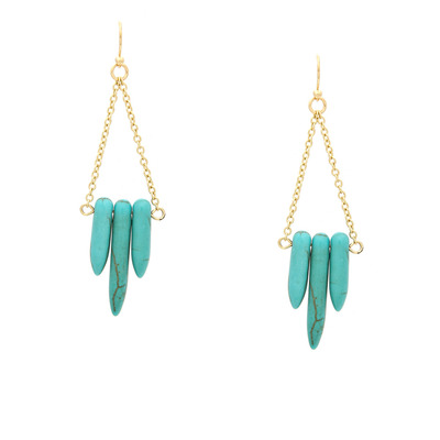 Tribal girl howlite spike earrings - turquoise